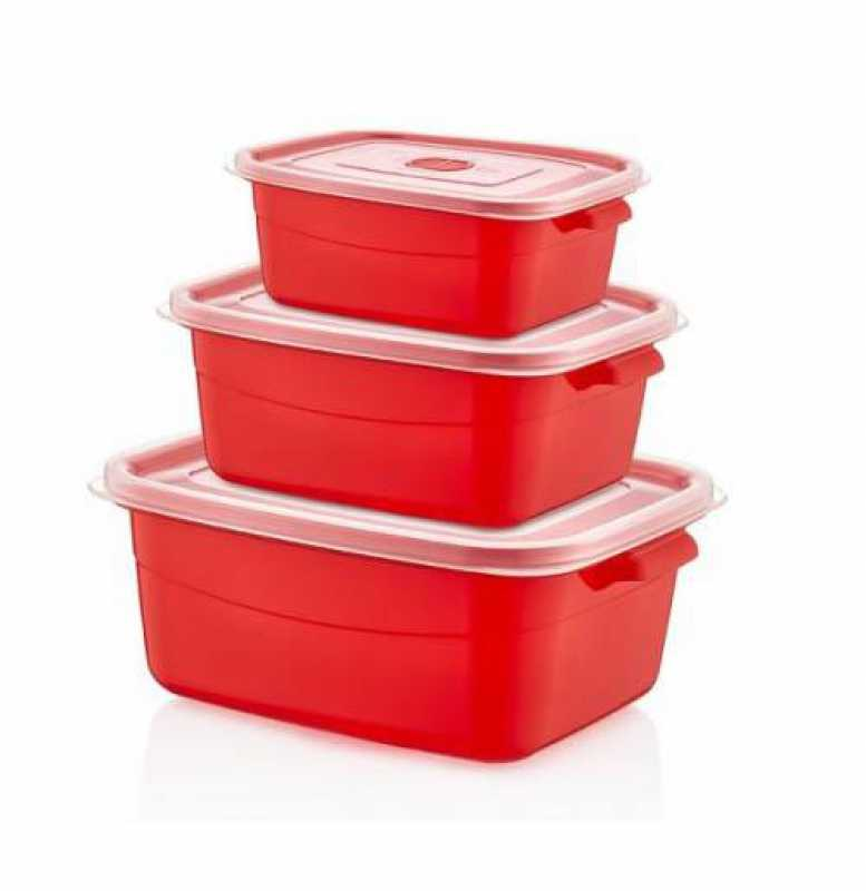 3 Pack Rectangular Food Storage Containers Microwave Food Pot With Lids 021520 (Parcel Rate)