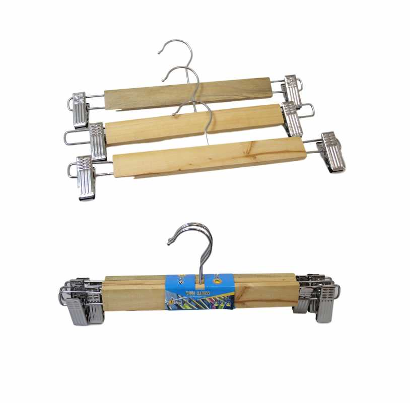 3 Pack Clothes Wardrobe Hanger With Iron Clips Easy Hanging Wooden Hangers 30cm 5744 (Parcel Rate)