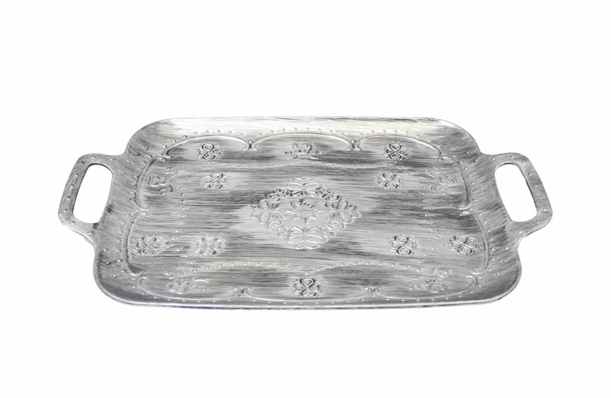 Plastic Vintage Style Grey White Shade Serving Food Kitchen Dinner Tray 35cm x 25cm 6044 (Parcel Rate)