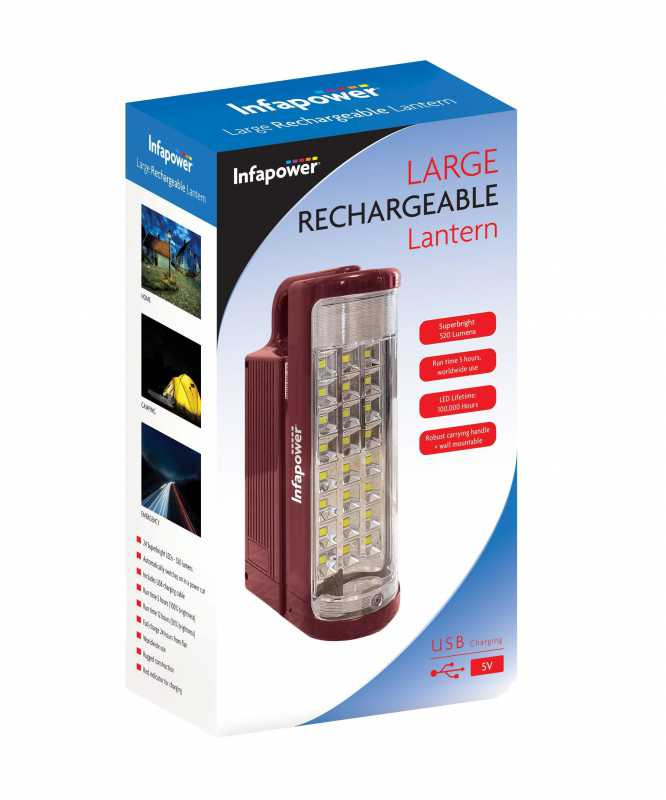 Infapower F059 24 LED Large Rechargeable Lantern With USB Charging Use 1249 (Parcel Rate)